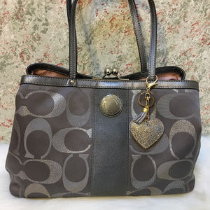 COACH Silver/Gray Lurex SIS Framed CarryAll 20427